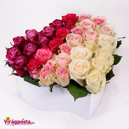 Virágposta - Rózsaszín szivárvány - szív alakú rózsabox