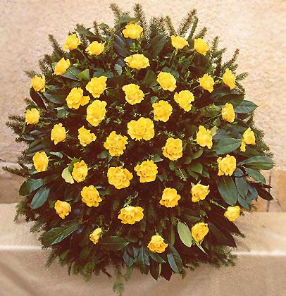 Virágposta - Koszorú sárga rózsákkal