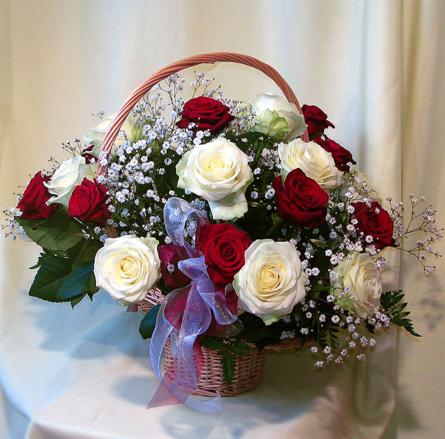 Virágposta - Vörös és fehér rózsák