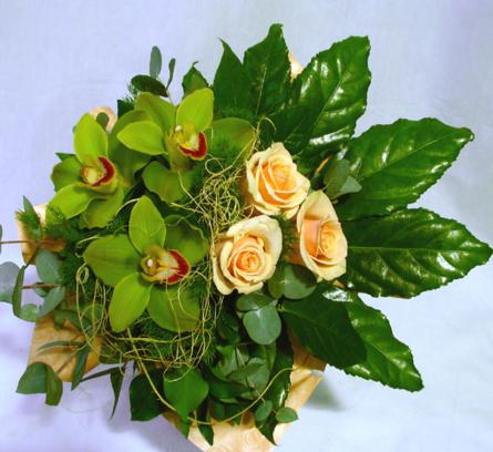 Virágposta - Zöld orchideák és rózsák