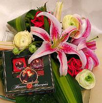 Virágposta - Liliomok üvegtálon