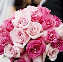 Virágposta - Pink rózsák Swarovski kristályokkal