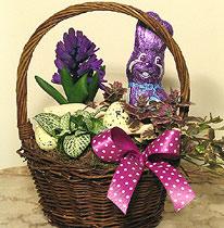 Virágposta - Húsvéti virágkosár csokinyúllal