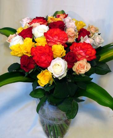 Virágposta - Szivárvány rózsacsokor