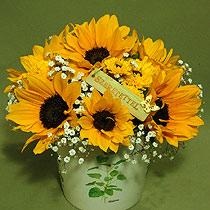 Virágposta - Napraforgók szeretettel - napraforgós virágtál