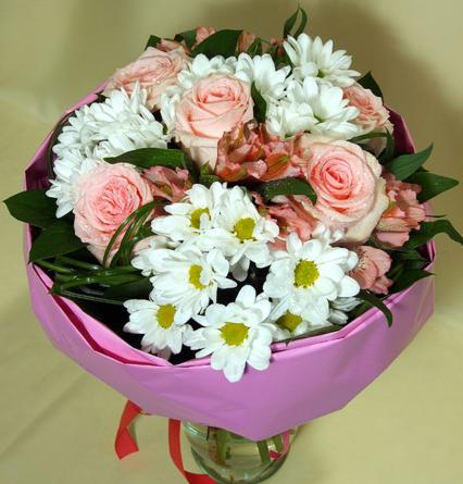 Virágposta - Édes Rózsaszín - rózsás csokor