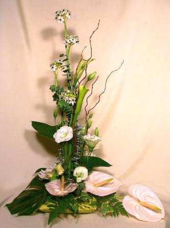 Virágposta - Virágcsendélet fehér anthuriumokkal