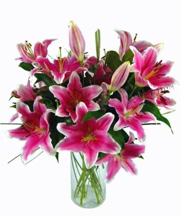 Virágposta - Pink királyliliomok