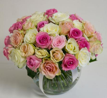 Virágposta - Rózsaszín rózsagömb - rózsák kerek csokorban, 40 cm