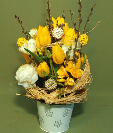 Virágposta - Tavaszi meglepetés sárga tulipánokkal - virágtál