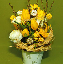 Virágposta - Tavasz meglepetés sárga tulipánokkal - virágtál