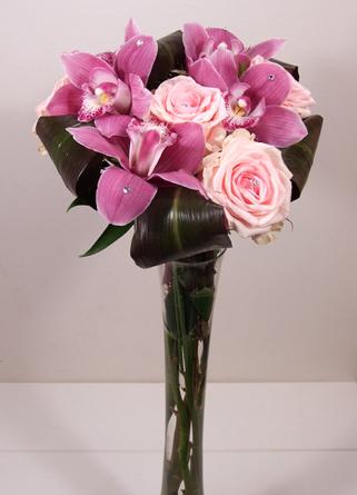 Virágposta - Jogarcsokor pink rózsákkal és orchideákkal
