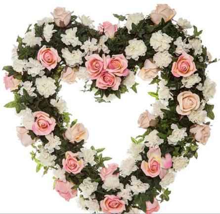 Virágposta - Szív koszorú rózsaszín rózsákkal
