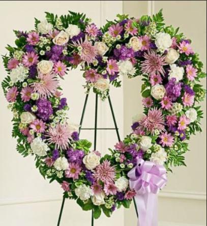 Virágposta - Szív koszorú lilás színben