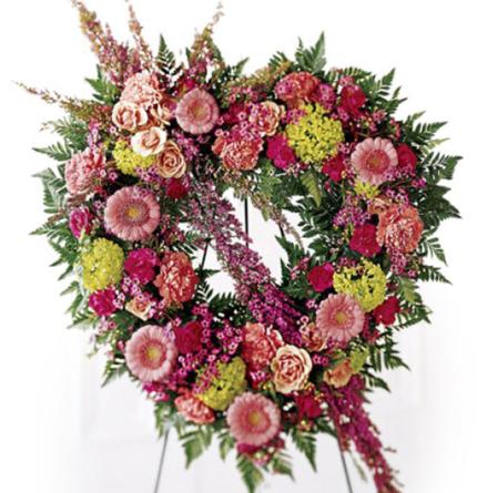 Virágposta - Szív koszorú, rózsaszín minigerberákkal