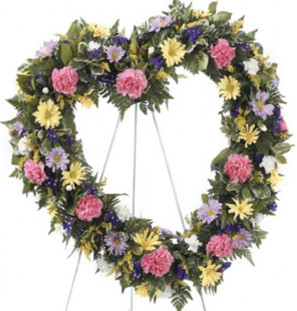 Virágposta - Szív koszorú rózsaszín szegfűkkel