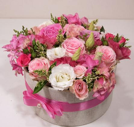 Virágposta - Varázsdoboz pink rózsákkal - rózsabox
