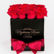 Virágposta - Vörös rózsák Mysterious dobozban 16 szál
