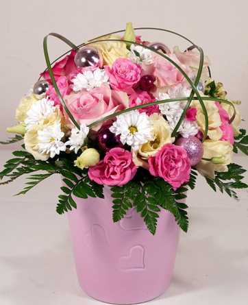 Virágposta - Rózsás gömb karácsonyra - virágtál