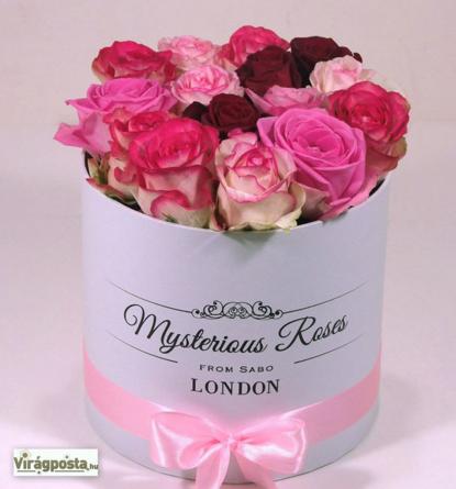 Virágposta - Pink rózsák hengedobozban - Rózsabox