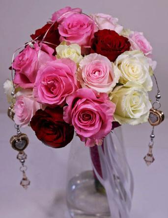 Virágposta - Romantika és csillogás - rózsaszínes rózsacsokor