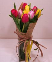 Virágposta - Szines tulipánok - csokor papírtölcsérben