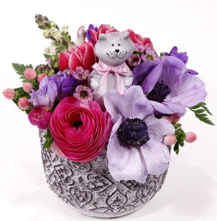Virágposta - Szia Macs! - Tavaszi virágtál, cicával