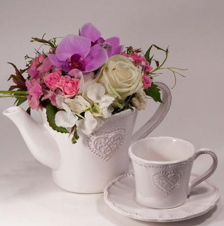 Virágposta - Porcelán teáskanna orchideákkal