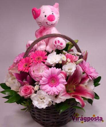 Virágposta - Gratulálunk! - Babaköszöntő virágkosár