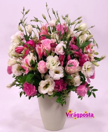 Virágposta - Liziantuszok kaspóban - rózsaszín virágfelhő