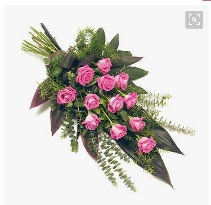Virágposta - Sírcsokor pink rózsákkal