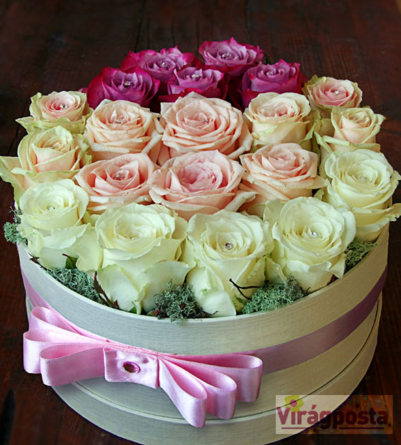 Virágposta - Porcelán rózsák Swarovskival! - rózsadoboz