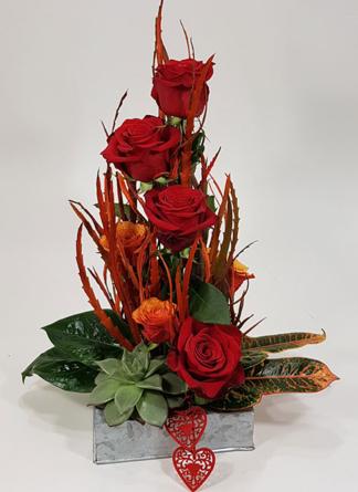 Virágposta - Érted Égek! - vörös rózsa virágtál