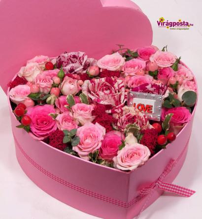 Virágposta - All you need is... - rózsaszín rózsadoboz