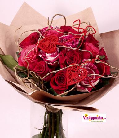 Virágposta - Őszinte szerelem - rózsás csokor