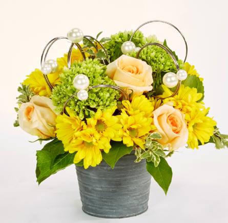 Virágposta - Virággömb rózsákkal, gyöngyökkel