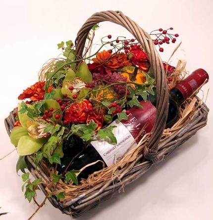 Virágposta - Akkor szüret! - őszies virágkosár vörösborral