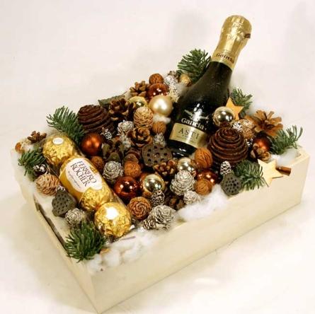 Virágposta - Karácsonyi díszdoboz Mini Gancia pezsgővel - karácsonyi virágdísz