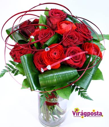 Virágposta - Szédület! - csokor vörös rózsákkal