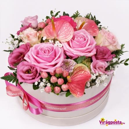 Virágposta - Pink bársony - rózsás virágdoboz