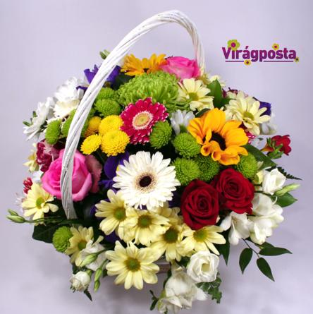 Virágposta - Szivárványos nyár - Virágkosár rózsákkal és nyári virágokkal